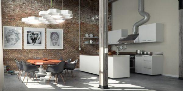 кухня в стиле лофт с картинами
