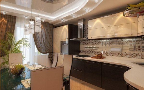 бежевая кухня модерн