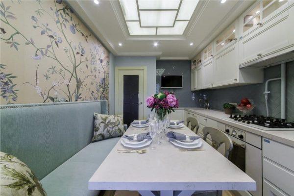 голубой кухонный уголок