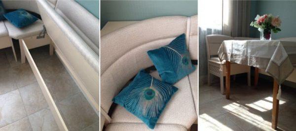 кухонный уголок с синими подушками