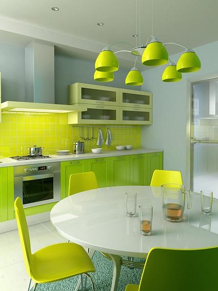 кухонный гарнитур цвета лайм со светильником