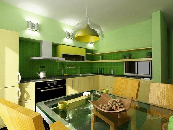 зелёный с лаймовым на кухне