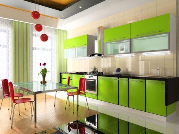 кухня цвета лайм