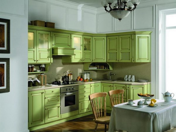оливковый цвет на кухне прованс