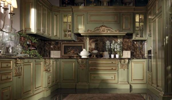 кухня оливкового цвета с золотом
