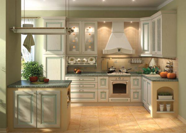 кухня оливкового цвета кантри