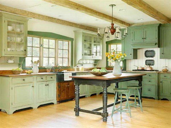 кухня оливкового цвета прованс