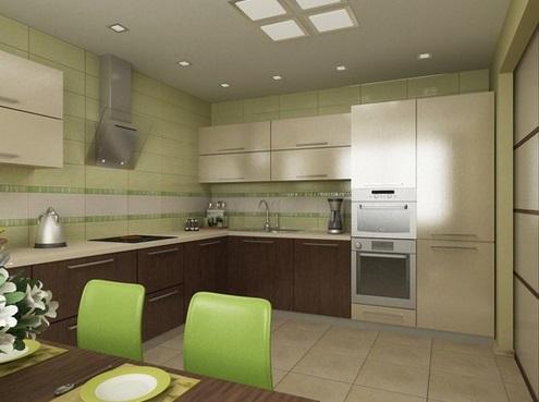 кухня со стенами оливкового цвета