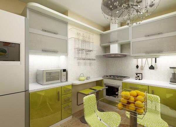 кухня оливкового цвета с белым