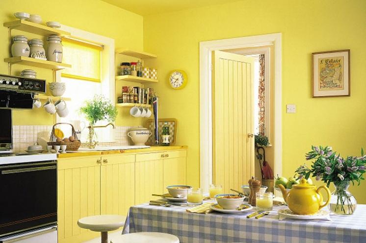 ремонт кухни - жёлтые оркашеные стены
