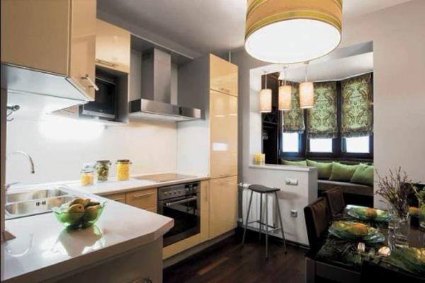 зелёные римские шторы на кухне