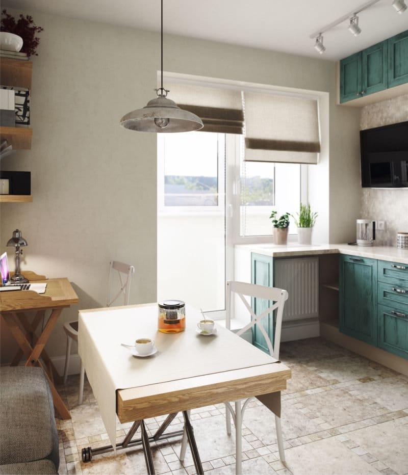 белые римские шторы на кухне