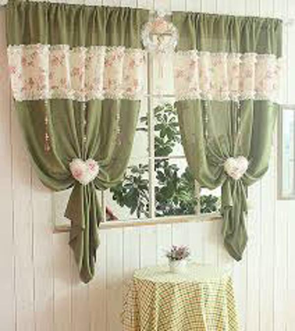 зелёные шторы для кухни своими руками