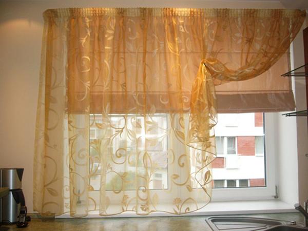 прозрачные шторы для кухни своими руками