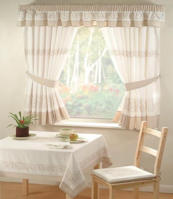 светлые шторы для кухни своими руками
