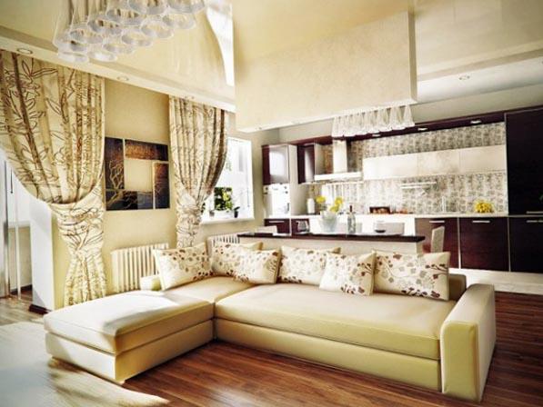 плотные шторы в интерьере кухни