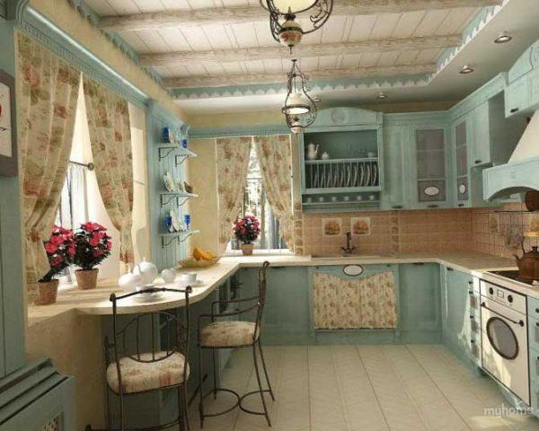 шторы в интерьере кухни прованс