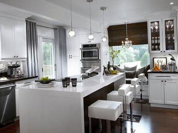 серые шторы в интерьере кухни