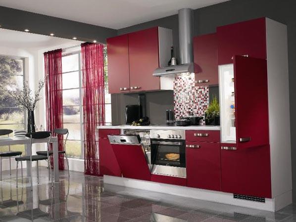 розовые шторы в интерьере кухни