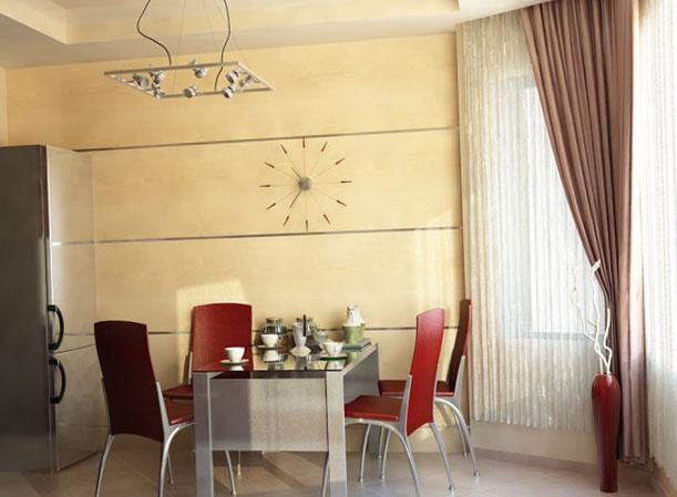 шторы с тюлью в интерьере кухни