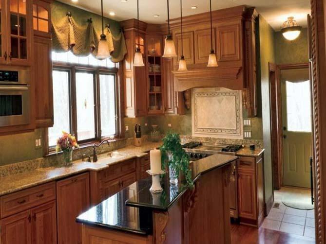 зелёные шторы в интерьере кухни