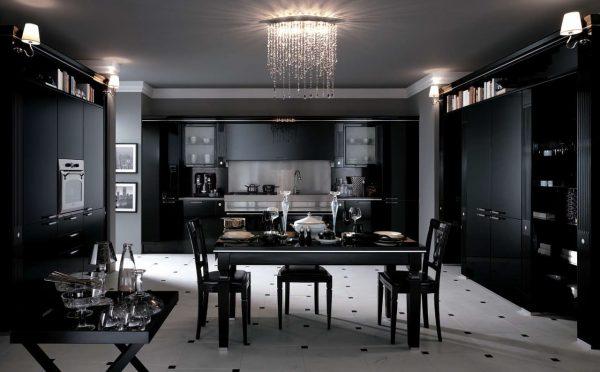 чёрный гарнитур на кухне