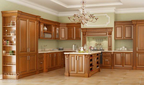 коричневая классическая кухня