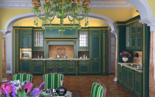 Классическая кухня бирюзового цвета