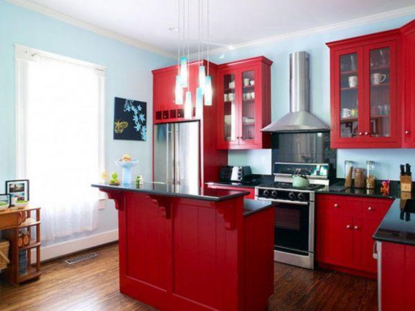 кухня красного дерева