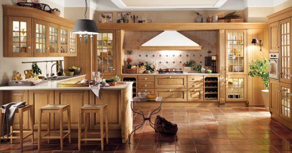 кухня коричневая в классическом стиле