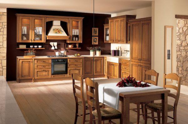 угловая кухня коричневая в классическом стиле