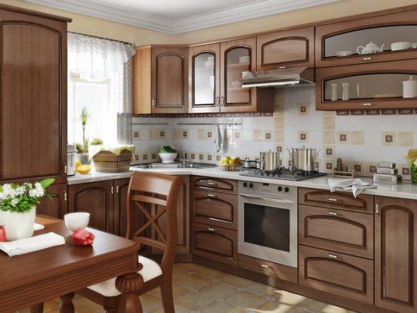 Дизайн интерьера коричневой кухни в стиле классика