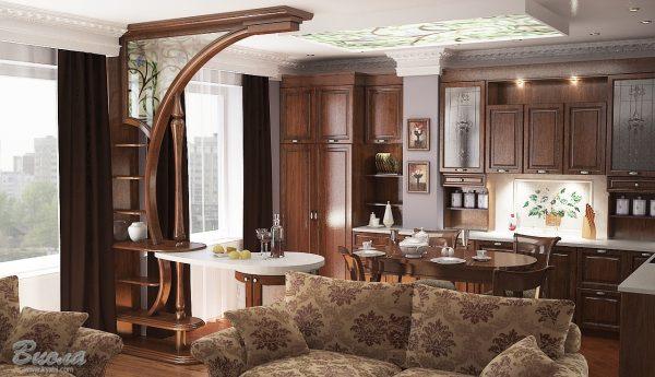 коричневая кухня в классическом стиле
