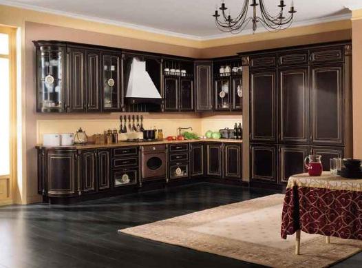 чёрная классическая кухня
