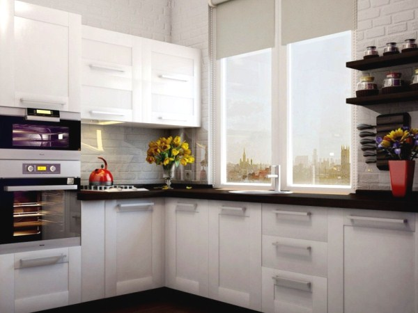 угловая белая кухня в хрущёвке