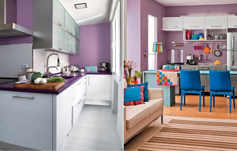 сиреневые стены на кухне