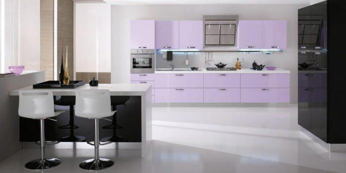 сиреневые кухонные шкафы