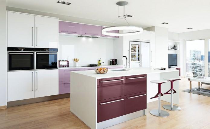 сиреневый цвет кухни